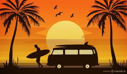 ilustración de puesta de sol de playa tropical