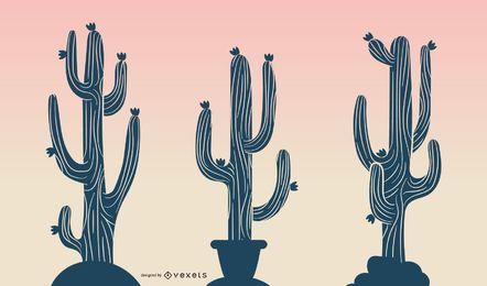 Cactus En Desert Sunrise