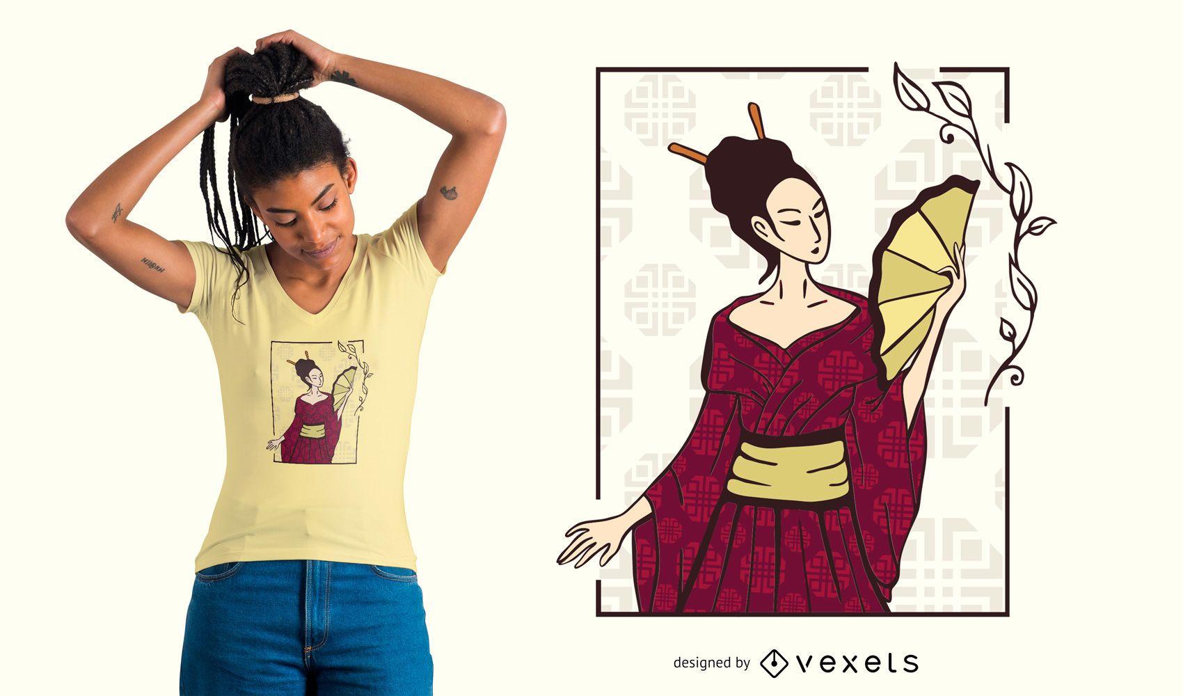 Diseño de camiseta de mujer geisha