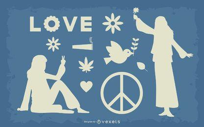 Hippie Flower Power Kollektion