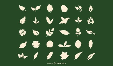 Leaf Shapes Silhouette Vector