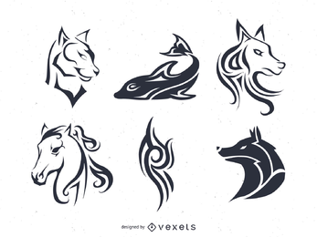 Tattoo and pinstripes Vector Set with animals