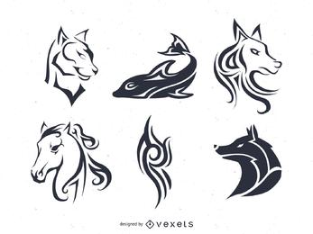 Tatuaje y rayas vector conjunto con animales.