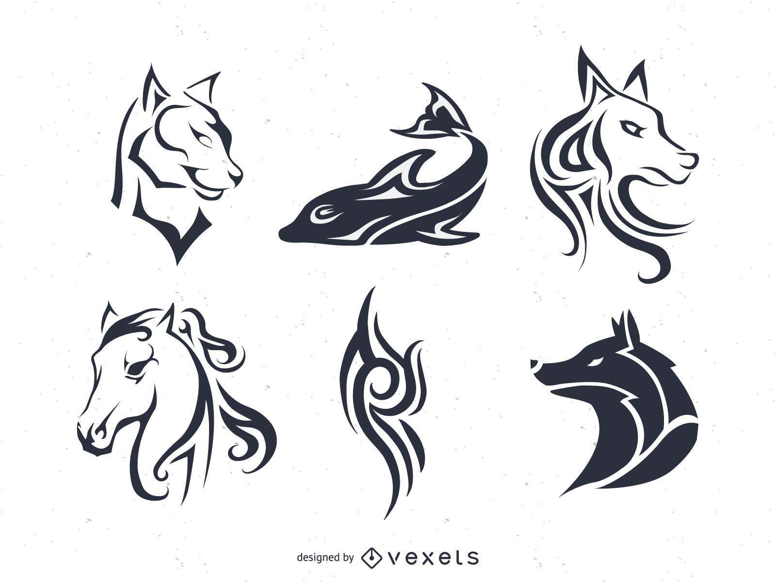 Tatuaje y telas a rayas Conjunto de vectores con animales