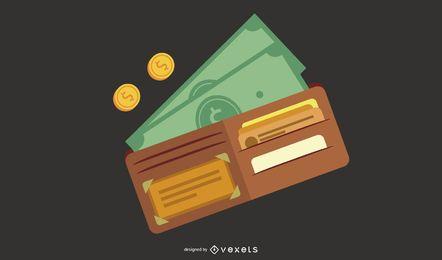Wallet money illustration design