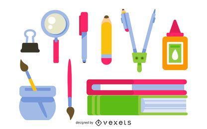 Paquete de diseño plano de útiles escolares