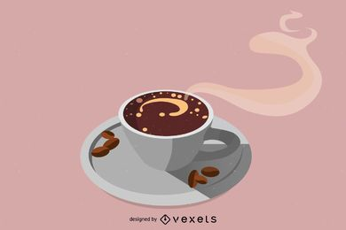 Coffee cup vector seen from above