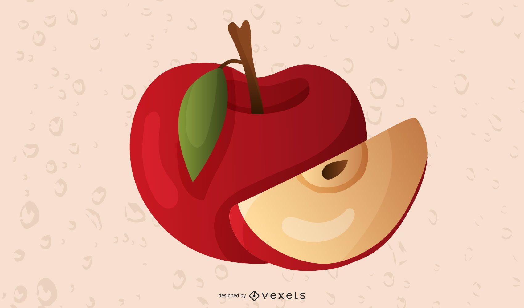 Apple slice illustration design