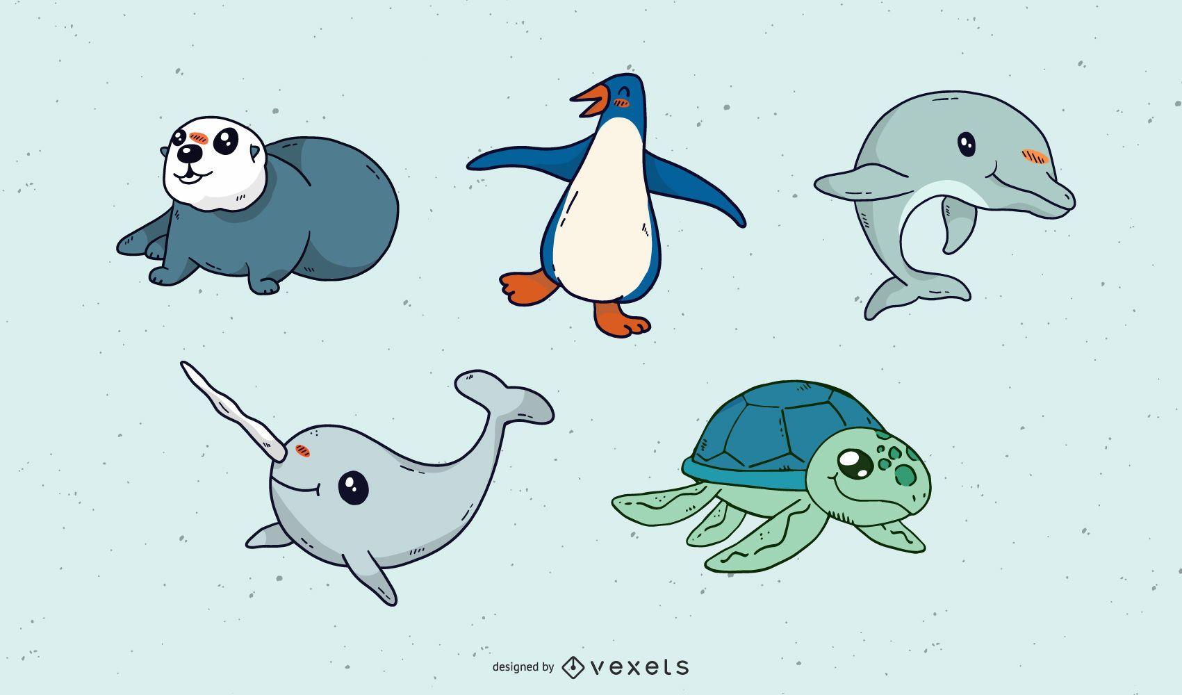 Cute Marine Animals Vector