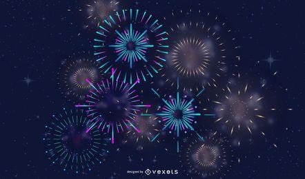 Fogos De Artifício Festivo 03 Vector