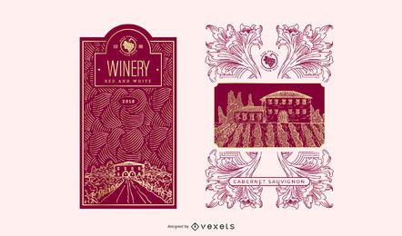 Stickers And Labels Wine Vector 3