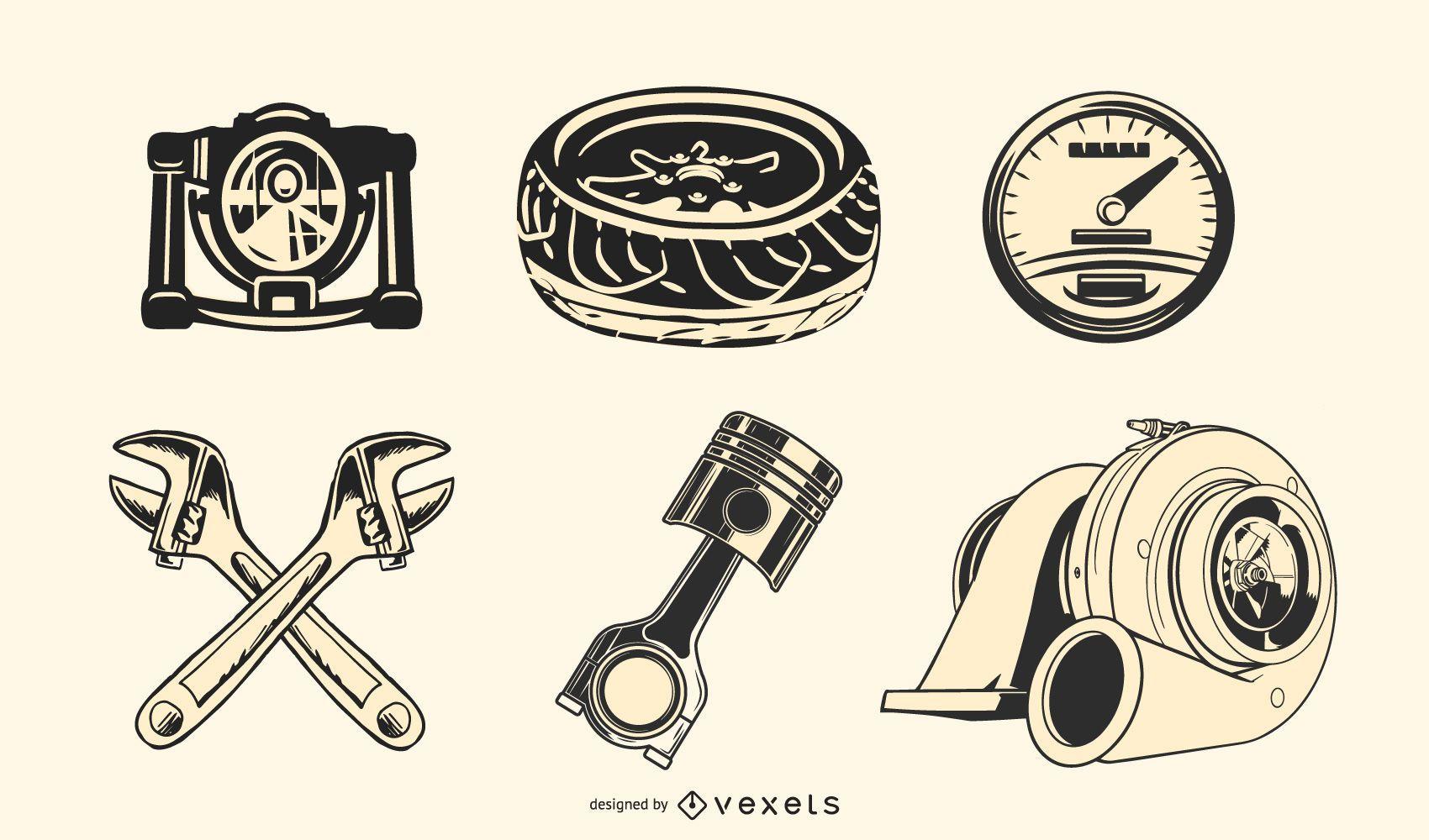 Vector de piezas de automóvil