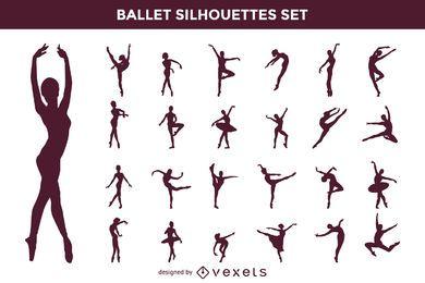 Conjunto de la silueta del ballet del vector