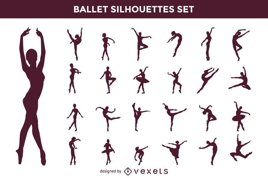 Vector Conjunto De Silueta De Ballet