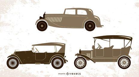 vintage cars illustration set