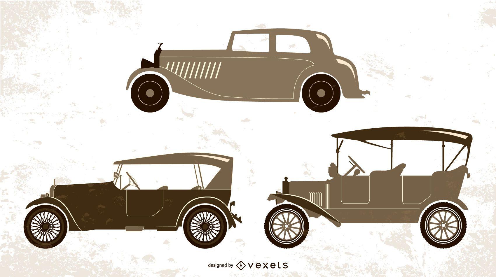 conjunto de ilustración de coches antiguos