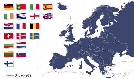 Mapa da Europa com ilustração de bandeiras