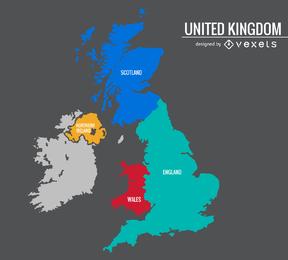 Mapa colorido de Reino Unido