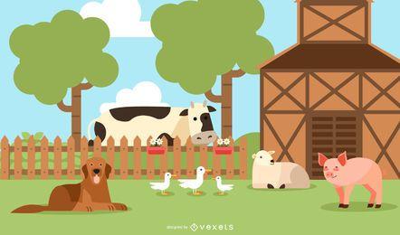 Fazenda Feliz Adorável Vector