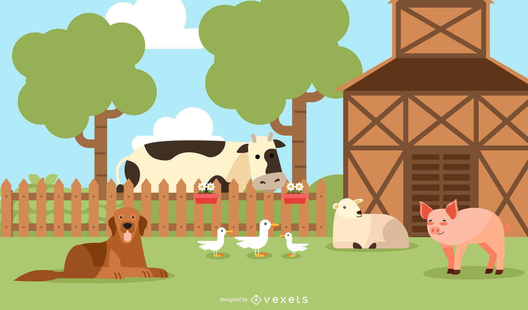 Diseño de ilustración de animales de granja
