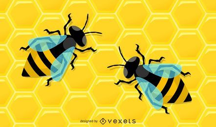 Honeycomb Bee Illustration Pack