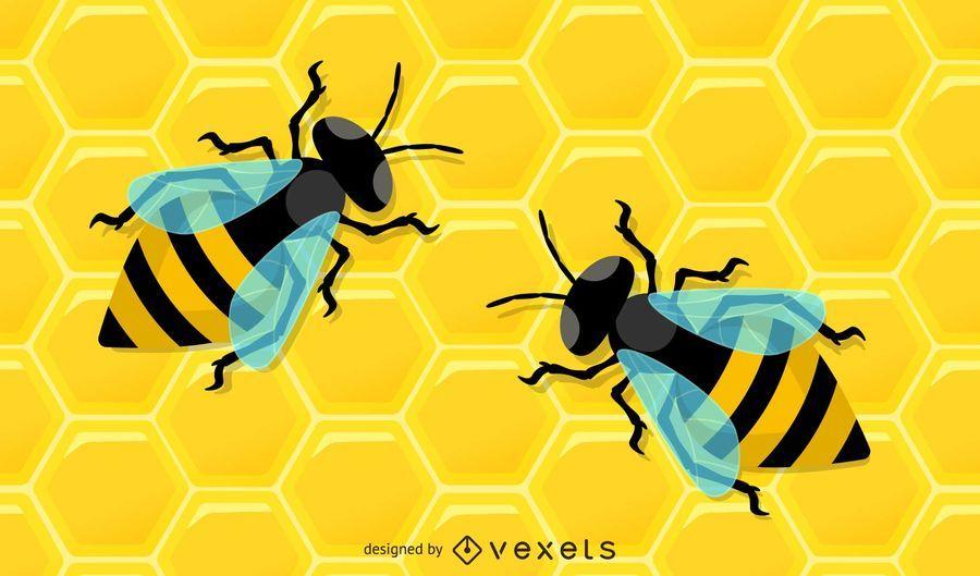 Honeycomb Bee Illustration Pack