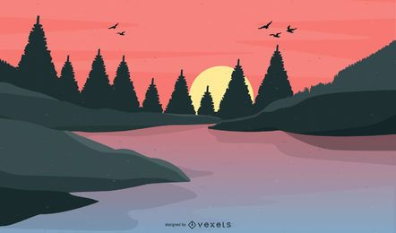 Vector Lake At Sundown