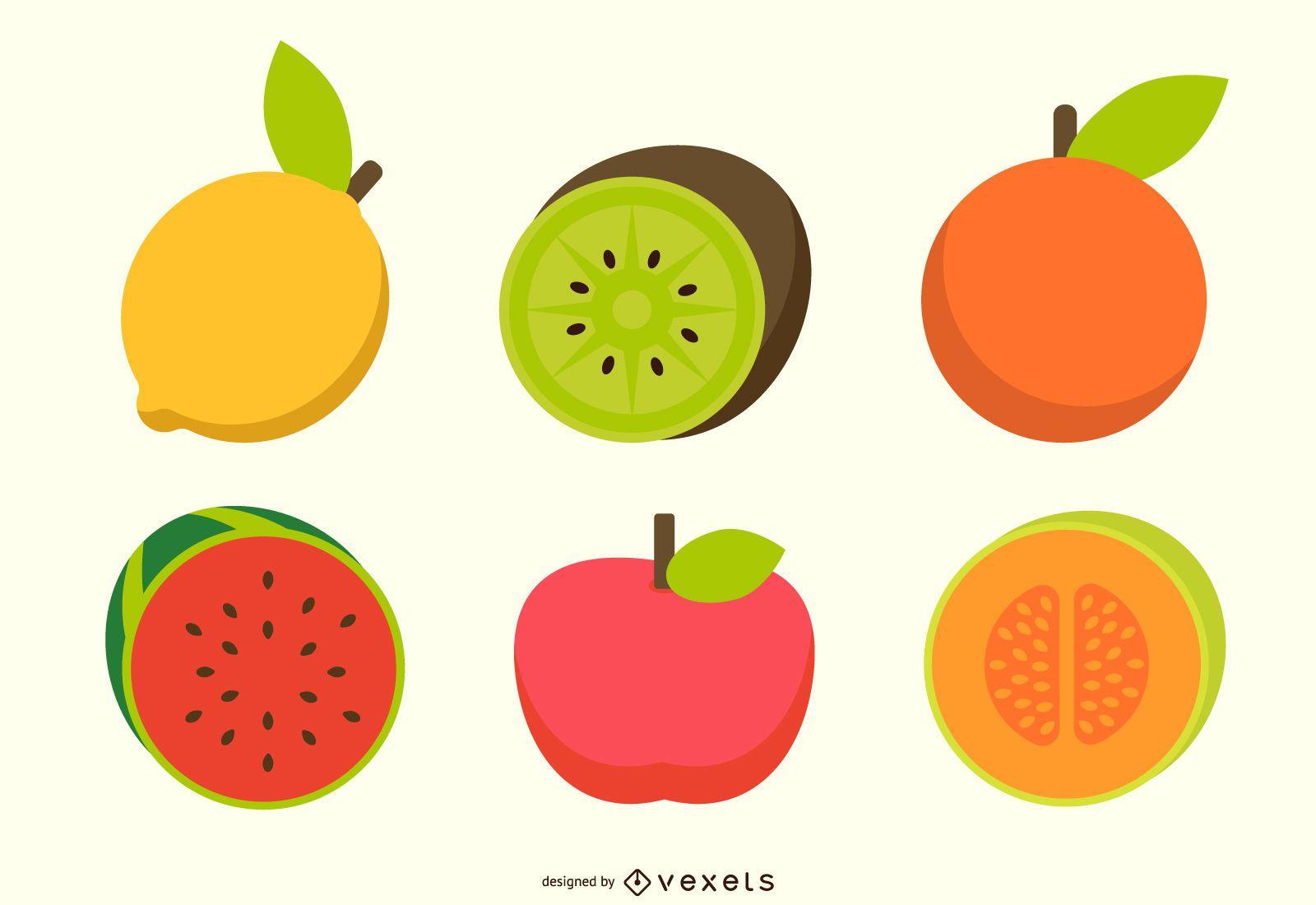 Flat fruits colorful vector set