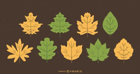 Set de 9 hojas verdes y amarillas.