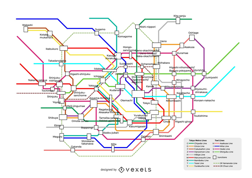 Tokyo Subway Route Map Vector Operations