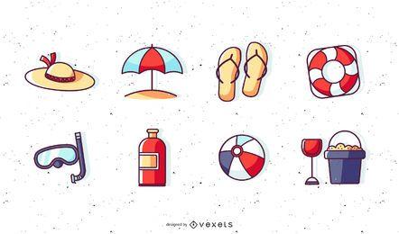 Elemente des Vektor-niedlichen Sommers