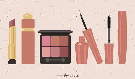 Una variedad de imágenes prediseñadas de cosméticos