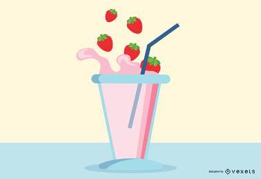 5 Fruta Y Leche Momento Vector Caída