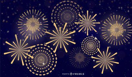 Vetor 5 fogos de artifício brilhantes fogos de artifício