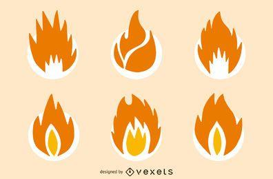 Llama de fuego aislado conjunto de iconos