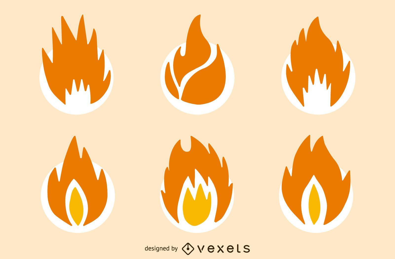 Conjunto de iconos aislados de fuego de llama