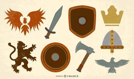 Conjunto de vectores de escudo de armas antiguo