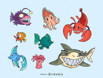 Conjunto de vectores de animales marinos