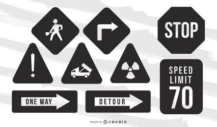Pacote de placas de trânsito