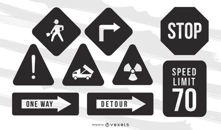 Road Warning Sign Vector Pack