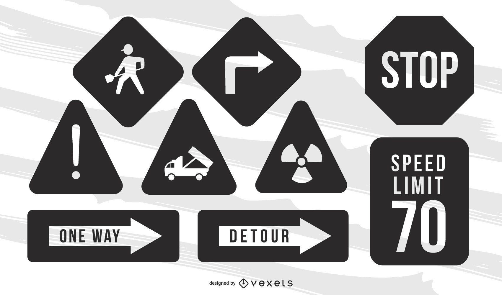 Vector de señal de advertencia de carretera