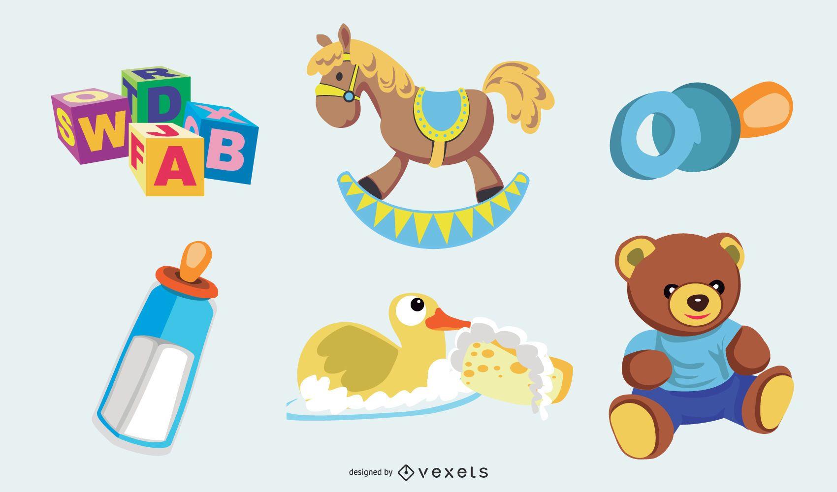 Newborn elements illustration set