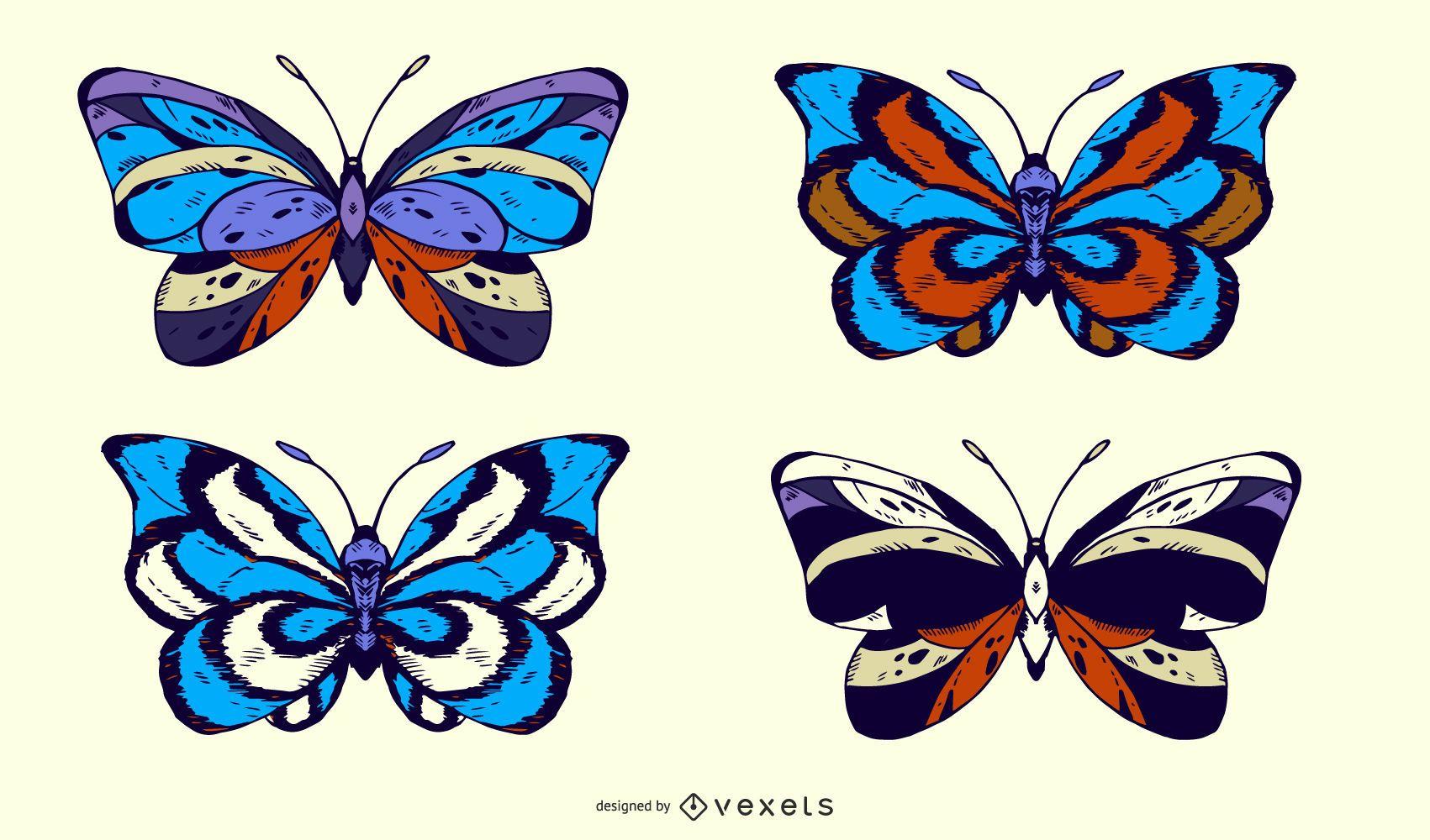 Blue butterflies illustration set