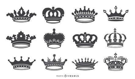 Coleção de silhuetas de ícone de coroa