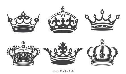 Krone Symbol Silhouetten Sammlung