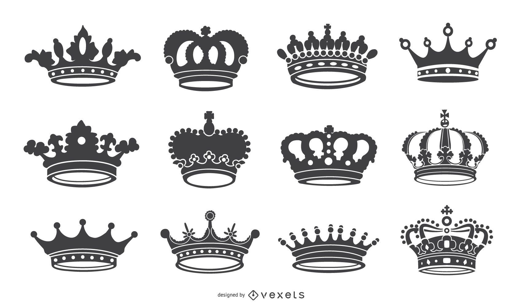 Crown icon silhouettes collection