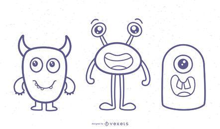 Cute monsters stroke vector set