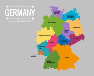 Vector de mapa de Deutschlandkarte Alemania