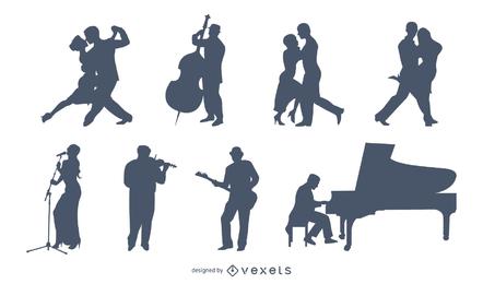 Pacote de silhueta de músicos e dançarinos