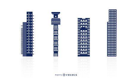 Conjunto de vectores de edificios altos